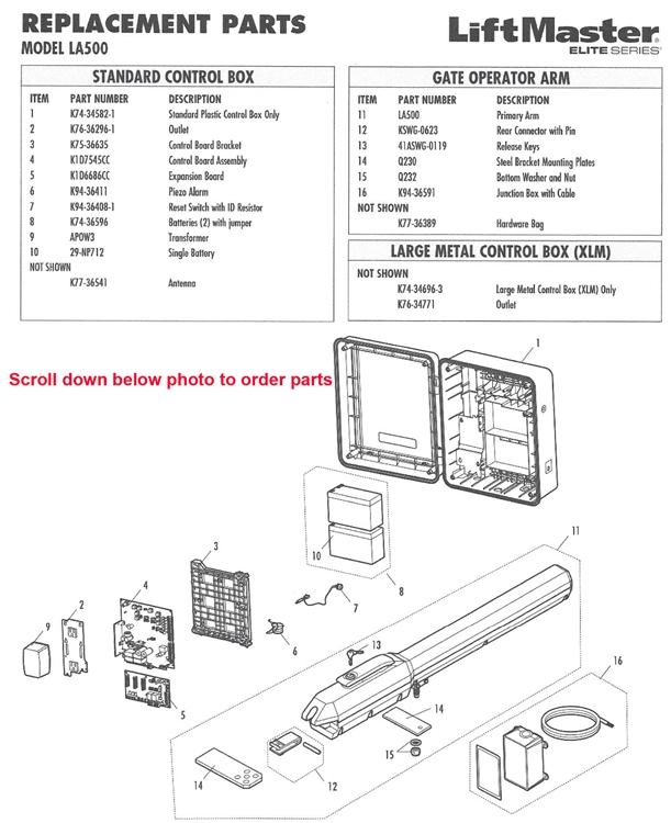 Liftmaster la500 Parts on wayne dalton opener wiring diagram, crusader opener wiring diagram, genie garage opener wiring diagram, chamberlin opener wiring diagram,