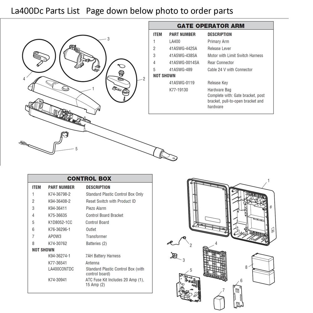 liftmaster Swing Gate LA400DC parts on wayne dalton opener wiring diagram, crusader opener wiring diagram, genie garage opener wiring diagram, chamberlin opener wiring diagram,